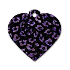 Skin5 Black Marble & Purple Marble (r) Dog Tag Heart (two Sides) by trendistuff
