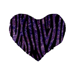 Skin4 Black Marble & Purple Marble (r) Standard 16  Premium Flano Heart Shape Cushion  by trendistuff