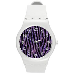 Skin4 Black Marble & Purple Marble Round Plastic Sport Watch (m) by trendistuff