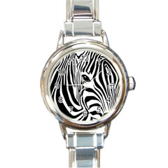 Animal Cute Pattern Art Zebra Round Italian Charm Watch