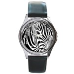 Animal Cute Pattern Art Zebra Round Metal Watch