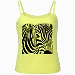 Animal Cute Pattern Art Zebra Yellow Spaghetti Tank