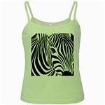 Animal Cute Pattern Art Zebra Green Spaghetti Tank