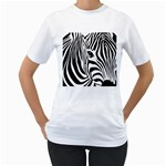 Animal Cute Pattern Art Zebra Women s T-Shirt (White) (Two Sided)