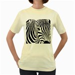 Animal Cute Pattern Art Zebra Women s Yellow T-Shirt