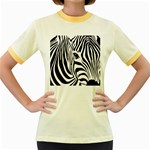 Animal Cute Pattern Art Zebra Women s Fitted Ringer T-Shirts