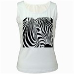 Animal Cute Pattern Art Zebra Women s White Tank Top