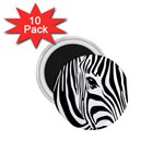 Animal Cute Pattern Art Zebra 1.75  Magnets (10 pack)
