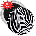 Animal Cute Pattern Art Zebra 3  Magnets (10 pack)