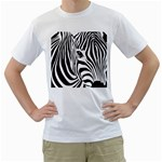 Animal Cute Pattern Art Zebra Men s T-Shirt (White) (Two Sided)