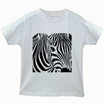Animal Cute Pattern Art Zebra Kids White T-Shirts