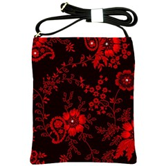 Small Red Roses Shoulder Sling Bags by Brittlevirginclothing