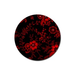 Small Red Roses Rubber Coaster (round)  by Brittlevirginclothing