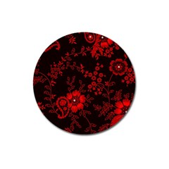 Small Red Roses Magnet 3  (round) by Brittlevirginclothing