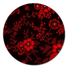 Small Red Roses Magnet 5  (round) by Brittlevirginclothing