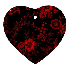 Small Red Roses Heart Ornament (2 Sides) by Brittlevirginclothing