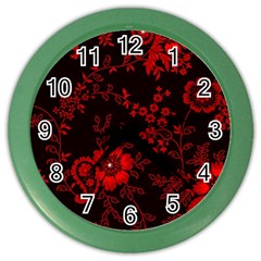 Small Red Roses Color Wall Clocks by Brittlevirginclothing