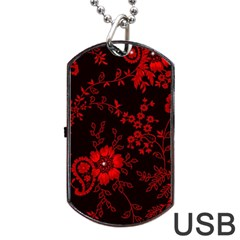 Small Red Roses Dog Tag Usb Flash (two Sides)  by Brittlevirginclothing