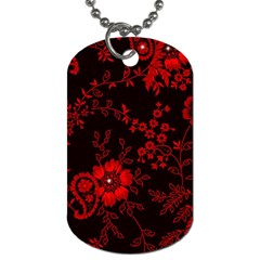 Small Red Roses Dog Tag (one Side) by Brittlevirginclothing