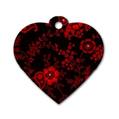 Small Red Roses Dog Tag Heart (one Side) by Brittlevirginclothing