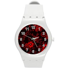Small Red Roses Round Plastic Sport Watch (m) by Brittlevirginclothing