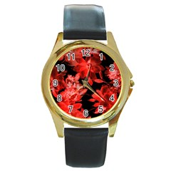 Red Roses  Round Gold Metal Watch by Brittlevirginclothing