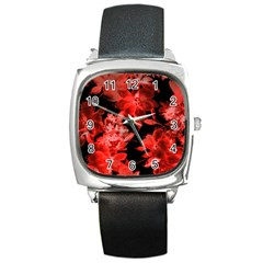 Red Roses  Square Metal Watch by Brittlevirginclothing