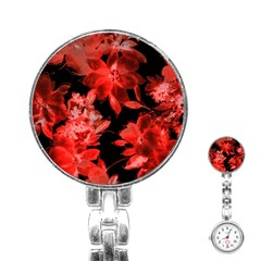 Red Roses  Stainless Steel Nurses Watch by Brittlevirginclothing