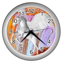 Pegasus Wall Clocks (silver)  by icarusismartdesigns