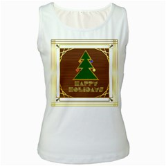Art Deco Holiday Card Women s White Tank Top