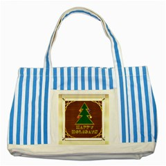 Art Deco Holiday Card Striped Blue Tote Bag