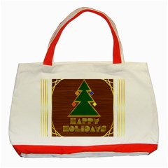 Art Deco Holiday Card Classic Tote Bag (red)