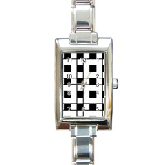Black And White Pattern Rectangle Italian Charm Watch by Amaryn4rt