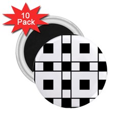 Black And White Pattern 2 25  Magnets (10 Pack)