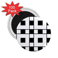 Black And White Pattern 2 25  Magnets (100 Pack)