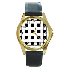 Black And White Pattern Round Gold Metal Watch