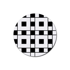 Black And White Pattern Rubber Round Coaster (4 Pack)