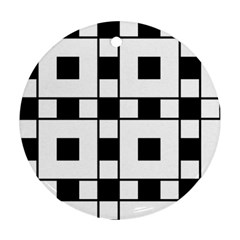 Black And White Pattern Round Ornament (two Sides)