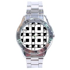 Black And White Pattern Stainless Steel Analogue Watch by Amaryn4rt