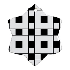 Black And White Pattern Snowflake Ornament (2 Side) by Amaryn4rt