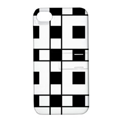 Black And White Pattern Apple Iphone 4/4s Hardshell Case With Stand by Amaryn4rt