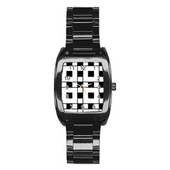 Black And White Pattern Stainless Steel Barrel Watch