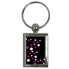 Pink And White Dots Key Chains (rectangle)  by Valentinaart