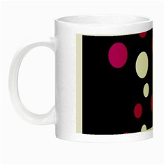 Pink And White Dots Night Luminous Mugs by Valentinaart