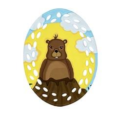 Groundhog Day  Ornament (oval Filigree)