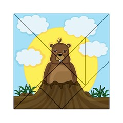 Groundhog Day  Acrylic Tangram Puzzle (6  X 6 ) by Valentinaart