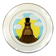 Happy Groundhog Day Porcelain Plates by Valentinaart