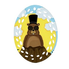 Happy Groundhog Day Oval Filigree Ornament (2 Side)