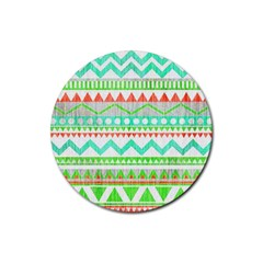 Cute Bohemian  Rubber Round Coaster (4 Pack)  by Brittlevirginclothing