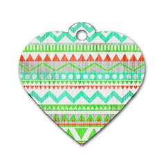 Cute Bohemian Dog Tag Heart (two Sides) by Brittlevirginclothing